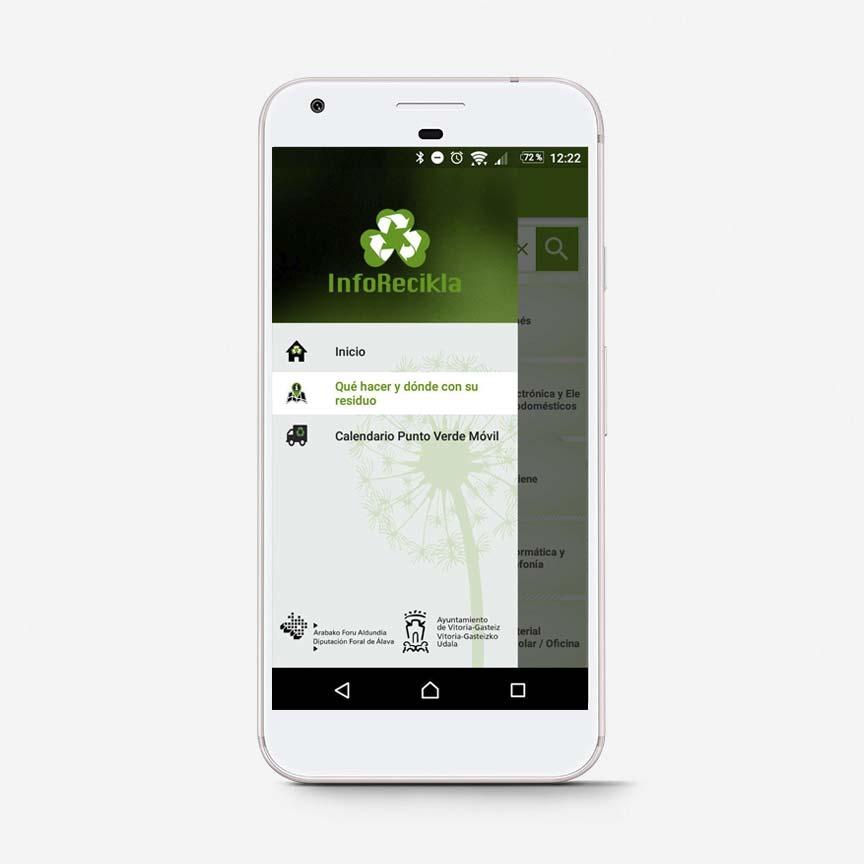 App Inforecikla menu