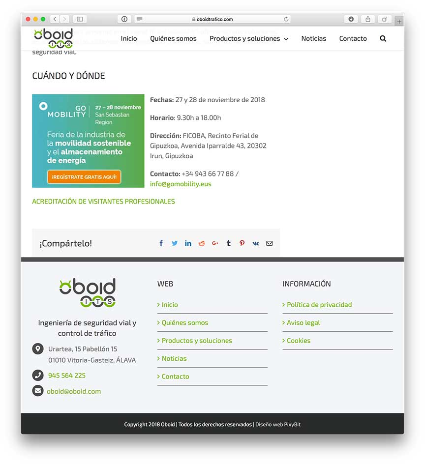PixyBit Diseño Web Vitoria- Web Oboid Tráfico