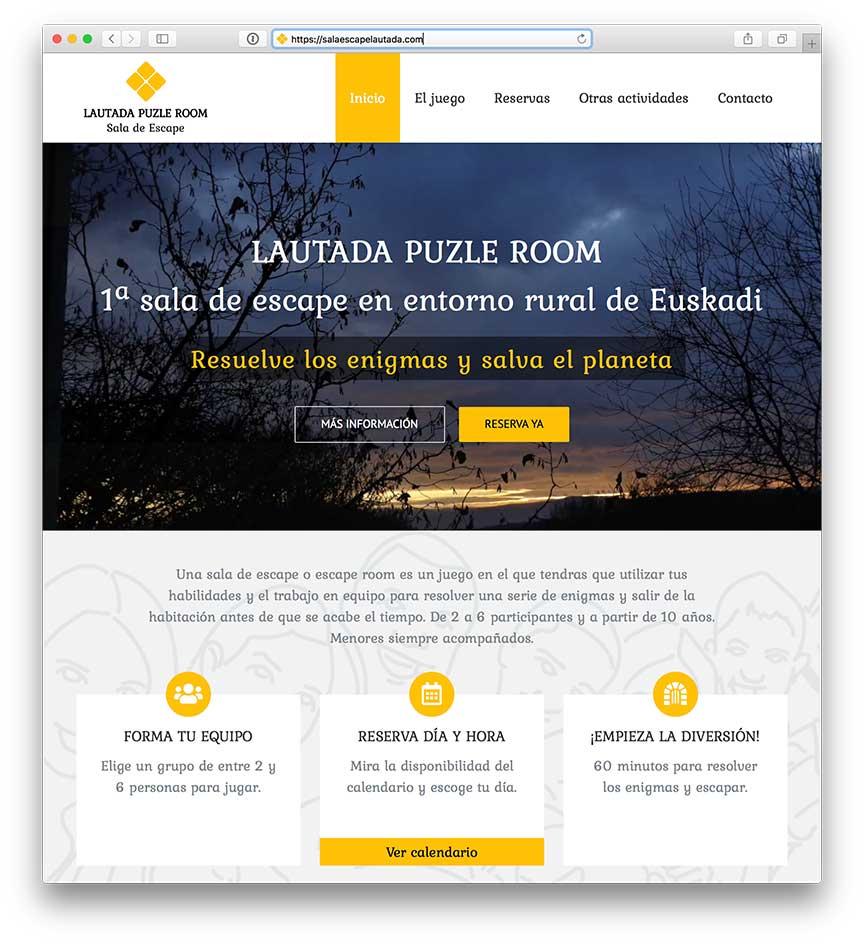 Diseño Web sala escape Lautada Puzle Room