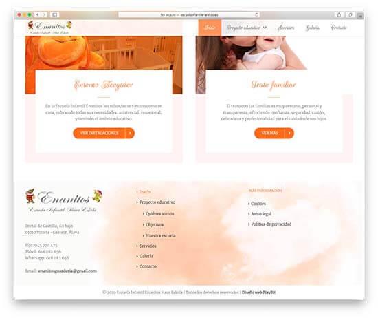 Diseño Web Escuela Infantil Enanitos - Inicio