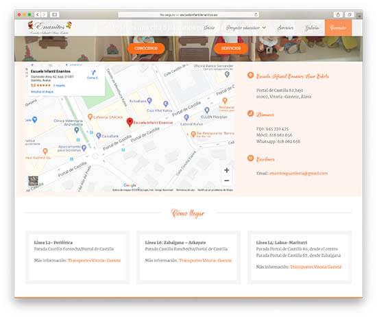 Diseño Web Escuela Infantil Enanitos - Contacto