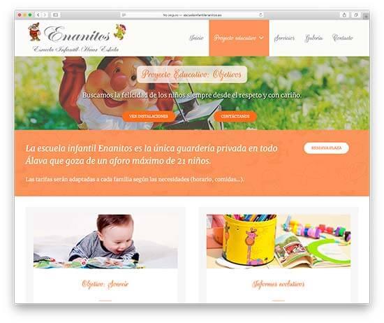 Diseño Web Escuela Infantil Enanitos - Objetivos