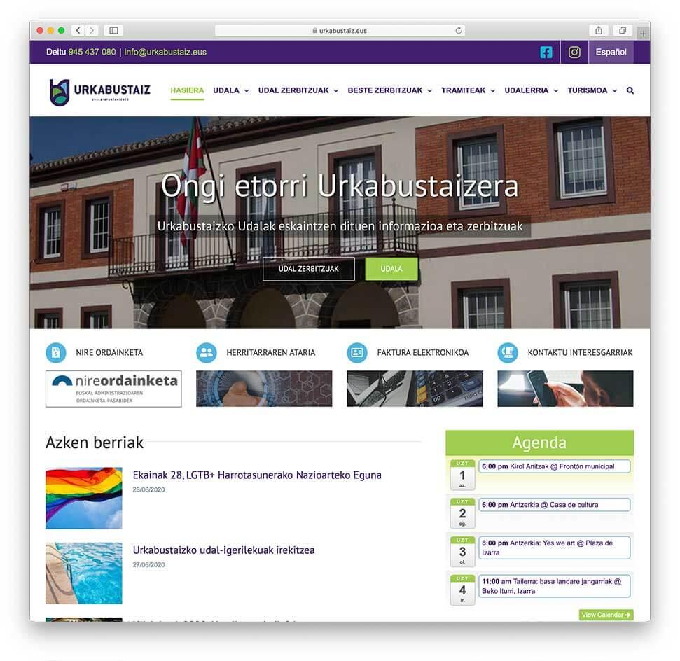 Diseño Web Ayuntamiento de Urkabustaiz-Inicio