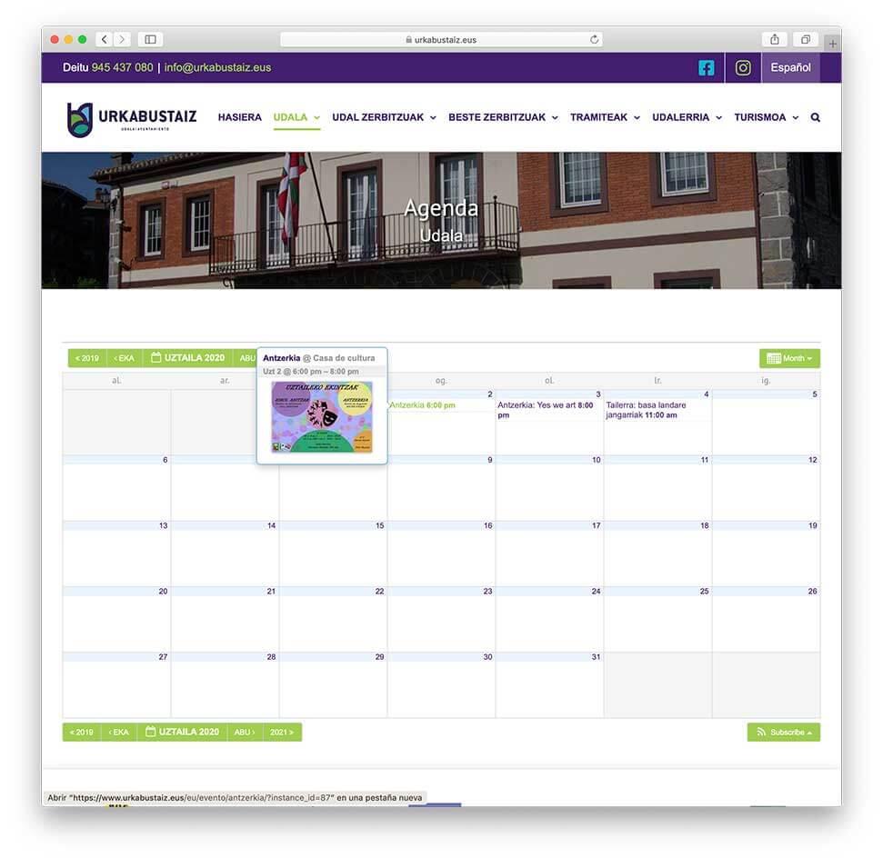 Diseño web Ayuntamiento de Urkabustaiz-Calendario de eventos
