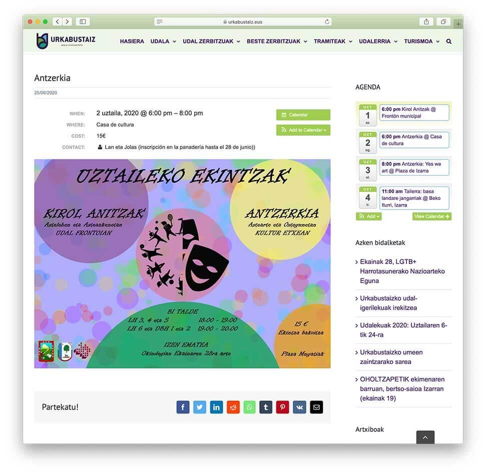 Diseño web Ayuntamiento de Urkabustaiz-Detalle de evento